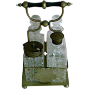 SALE Glass Cruet Set with Brass Caster and Tops