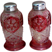 SOLD Ruby Flashed Salt and Pepper Shakers with Metal Tops