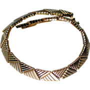 SALE Egyptian Revival Polished and Brushed Gold tone Collar Necklace