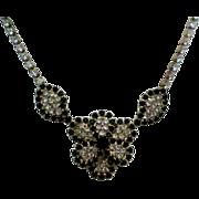 SALE Black & Clear Rhinestone Flower Necklace