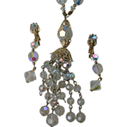 "SALE Art Deco Crystal ""Flapper"" Tassel Necklace with Dangle Earrings"