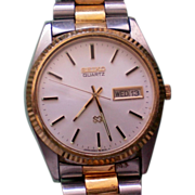 SALE Seiko Two Tone Stainless Steel Mans Quartz Date Watch