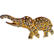 SALE Lucky Elephant Gold tone Rhinestone Pin