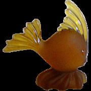 SALE Satin Glass Amber Fish Paper Weight  Figurine