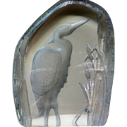 SALE Crystal Sulfide Heron Bird Glass Paperweight