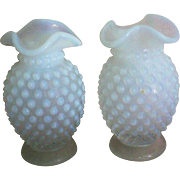 SALE Two Small Hobnail Opalescent Vases