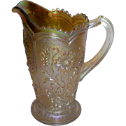 SALE Imperial Glass Merigold  Fieldflower Carnival Glass Pitcher
