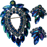 SALE Sarah Coventry Book Piece Blue Lagoon Brooch & Earring Set