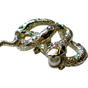 SALE Jeweled Snake Pin with a Faux Pearl in Mouth