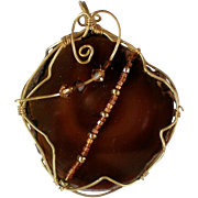 SALE Dark Amber Brown Stone Wire Wrapped Pendant