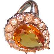 SALE Cellini by Coro Citrine Glass Rhinestone Ring
