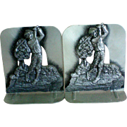 SALE Golf Motif Metal Book Ends