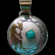SALE Kokopelli Gold, Silver, Turquoise Pendant by Navajo Robert Johnson