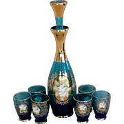 SALE Bohemian Blue Glass Decanter Set with 6 Cordials