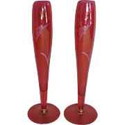 SALE Pair of Cranberry Etched Glass Bud Vases