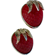 SALE Sarah Coventry Strawberry Festival Clip Earrings