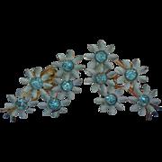 SALE Blue Metal Daisy Cluster Screw Back Earrings