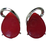 SALE Red Lucite Clip Earrings