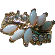 SALE Opal Glass Rhinestone Ring – Size 5