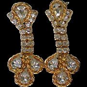 SALE Large Crystal Dangle Gold tone Pierced Earrings