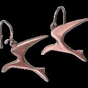 SALE Free Form Pewter Bird Earrings