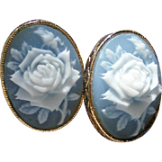 SALE Avon Rose Cameo Clip Earrings