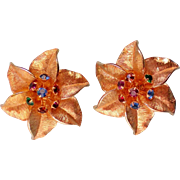 SALE Judy Lee Gold tone Star Flower Clip Earrings