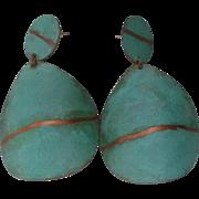 SALE Modernist Metal Disc Dangle Earrings