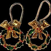 SALE Petite Christmas / Holiday Wreath Earrings