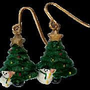 SALE Christmas Tree Snowman Earrings for the Holidays / Christmas