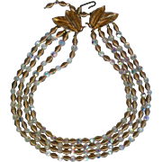 SALE Crystal and Wire Bead Gold tone 4 Strand Necklace