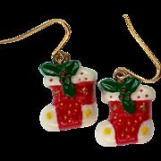 SALE Christmas Stocking Ceramic Pierced Earrings