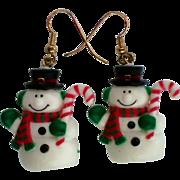 SALE Puffy Little Snowman Pierced Dangle Earrings