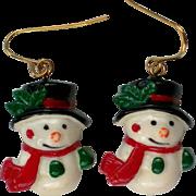 SALE Petite Snowmen Dangle Earrings for Christmas Holidays