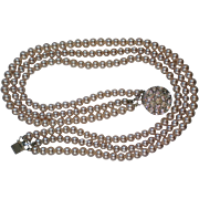 SALE Triple Strand Faux Pearl Necklace