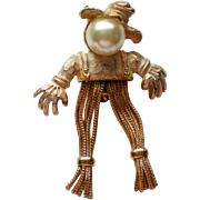 SALE Early Emmons Halloween Harvest Scarecrow Pin