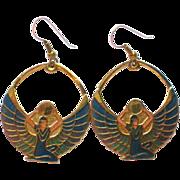 SALE Egyptian Revival Goddess Isis or Maat Dangle Pierced Earrings