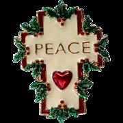 SALE PEACE Holiday Christmas Cross Pin marked SFJ