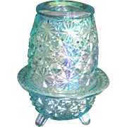 SOLD Iridescent Carnival Glass Fairy Lamp Light