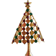 SALE Red and Green Rhinestone Gold tone Christmas Tree Pin
