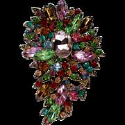 SALE Exquisite Multicolored HUGE Rhinestone Brooch