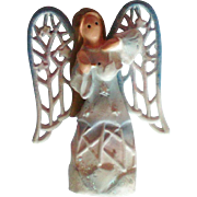 SALE Porcelain Angel with Metal Wings Pin