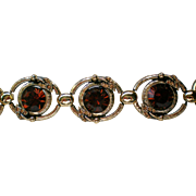 SALE Chunky Foil Backed Deep Brown Rhinestone Station Bracelet