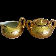 SALE 22 KT Gold Weeping Gold Porcelain Creamer & Sugar Set