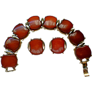 SALE Chunky Lucite Bracelet with Clip Earrings