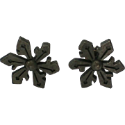 SALE Tiny Pewter Snowflake Pierced Earrings