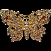 SALE Rhinestone Jeweled Butterfly Pin