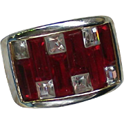 SALE Red & Clear Baguette Rhinestone Ring – Size 6½
