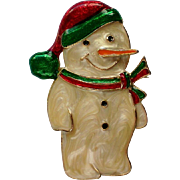 SALE Enameled Winter Holiday Christmas Snowman Pin