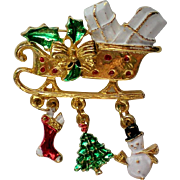 SALE Christmas Santa Sleigh with Presents, Stocking, Tree and Snowman